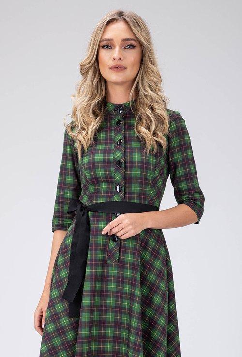 Rochie verde in carouri din bumbac cu nasturi in fata