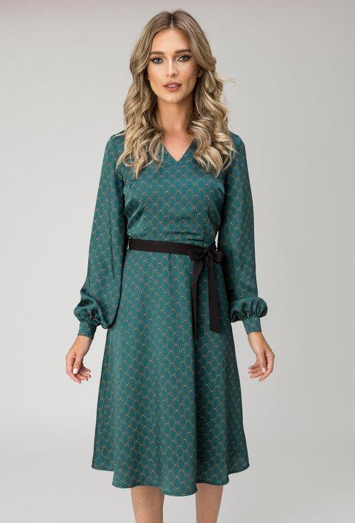 Rochie verde inchis cu imprimeu abstract Loren