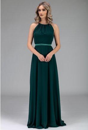 Rochie verde lunga si ampla cu bretele