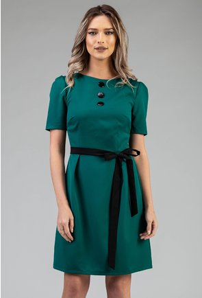 Rochie verde prevazuta cu nasturi si cordon