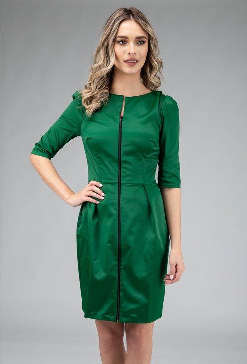Rochie verde smarald cu fermoar in partea din fata