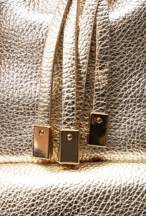 Rucsac auriu din piele naturala texturata
