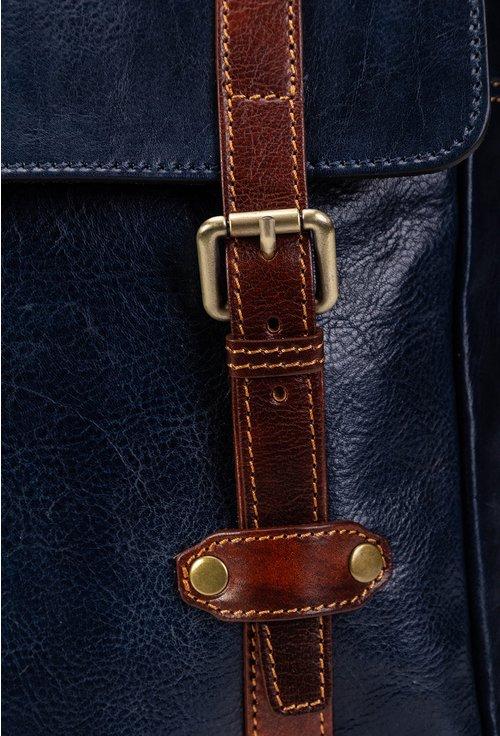 Rucsac bleumarin cu detalii maro din piele naturala