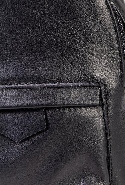 Rucsac de mici dimensiuni, negru, din piele naturala