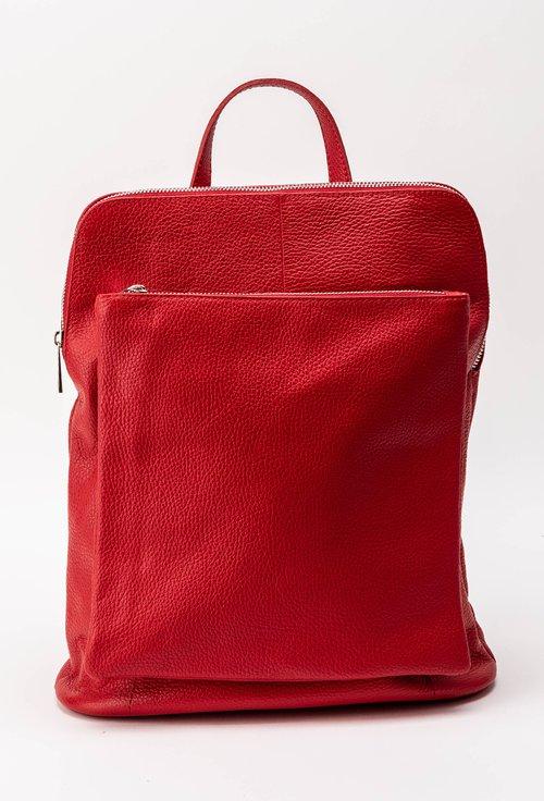 Rucsac-geanta rosu din piele naturala Lores