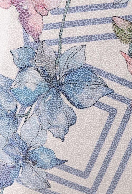 Rucsac mov din piele cu imprimeu cu flori bleu