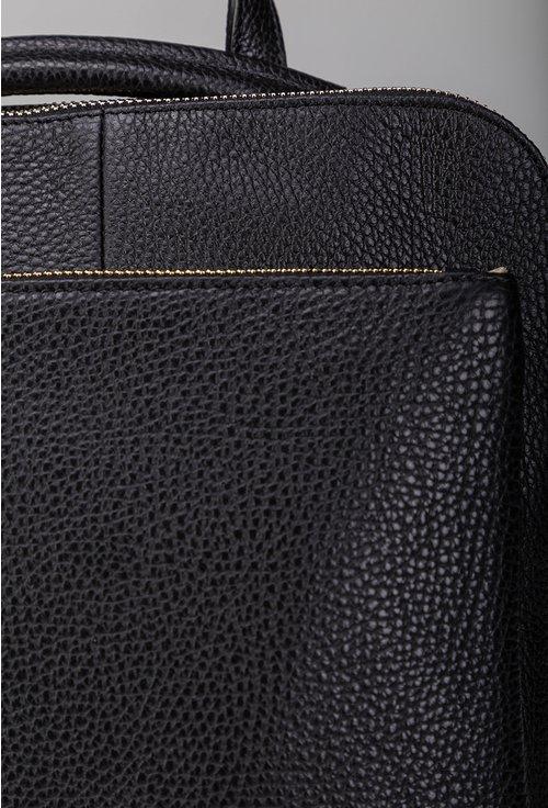 Rucsac negru din piele naturala texturata cu buzunar