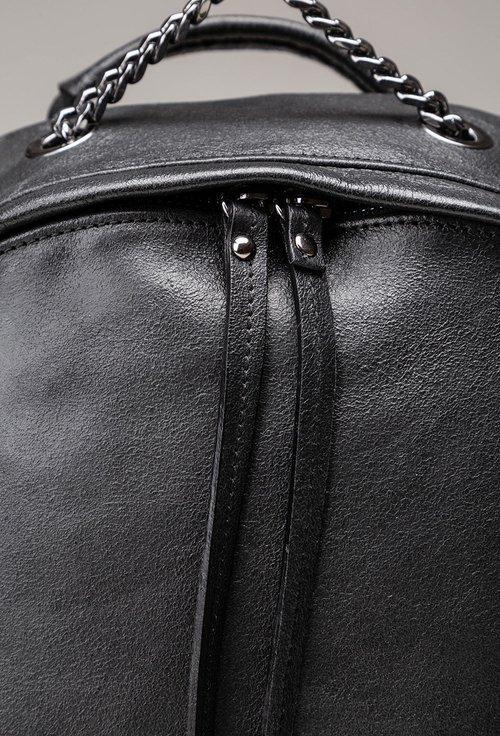 Rucsac negru metalizat din piele naturala Abigail