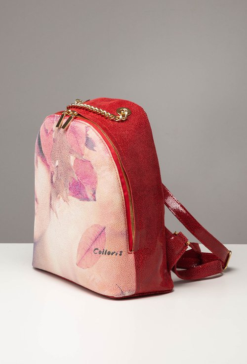 Rucsac rosu din piele cu imprimeu chip de femeie si frunze