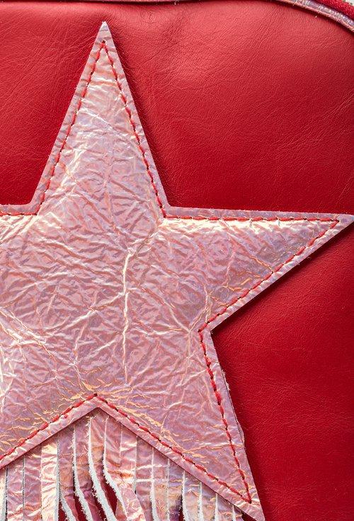 Rucsac rosu din piele naturala Star