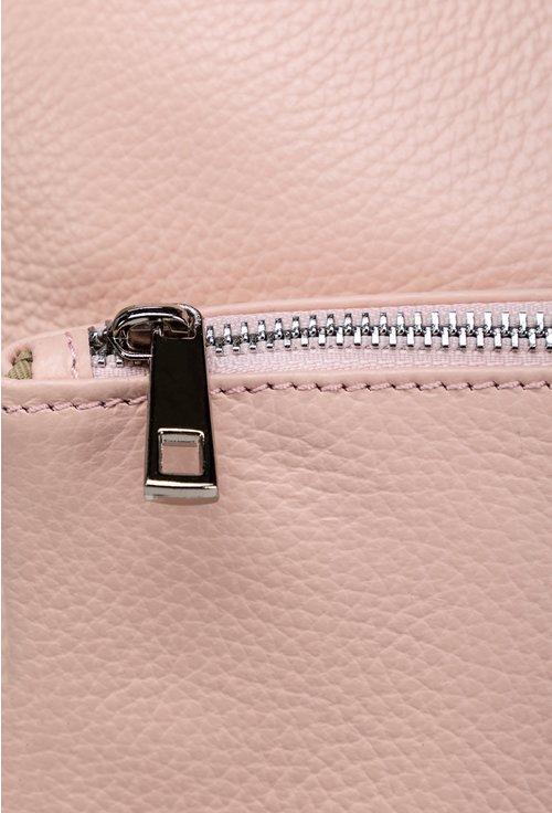 Rucsac roz pal din piele naturala cu buzunar