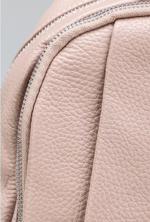 Rucsac roz pudra din piele naturala cu doua fermoare