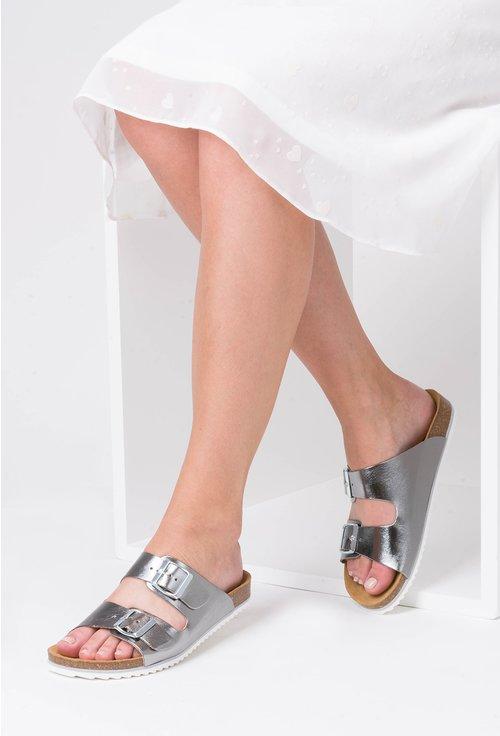 Sandale argintiu metalizat din piele naturala Hanna