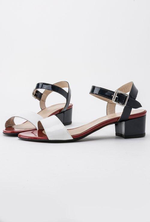 Sandale alb cu bleumarin si rosu din piele naturala Janette