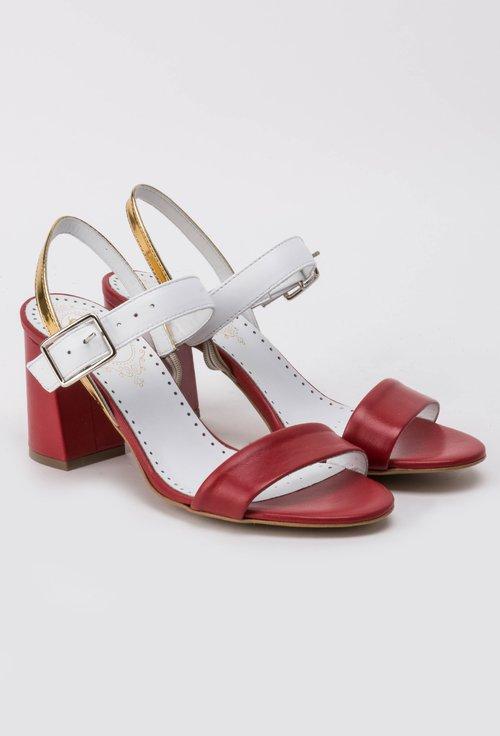Sandale alb cu rosu din piele naturala Arabella