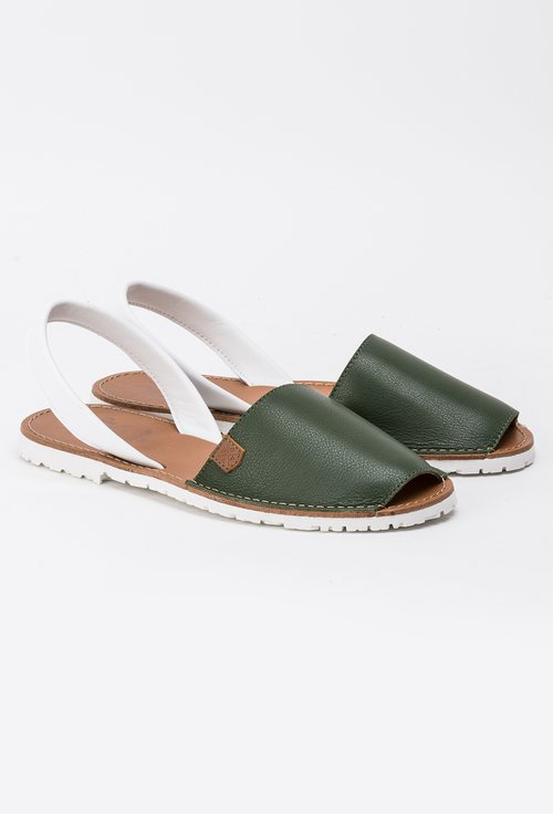 Sandale alb cu verde din piele naturala Edna