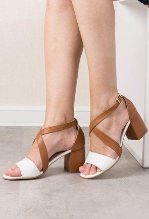 Sandale alb-natur cu maro din piele naturala Casia