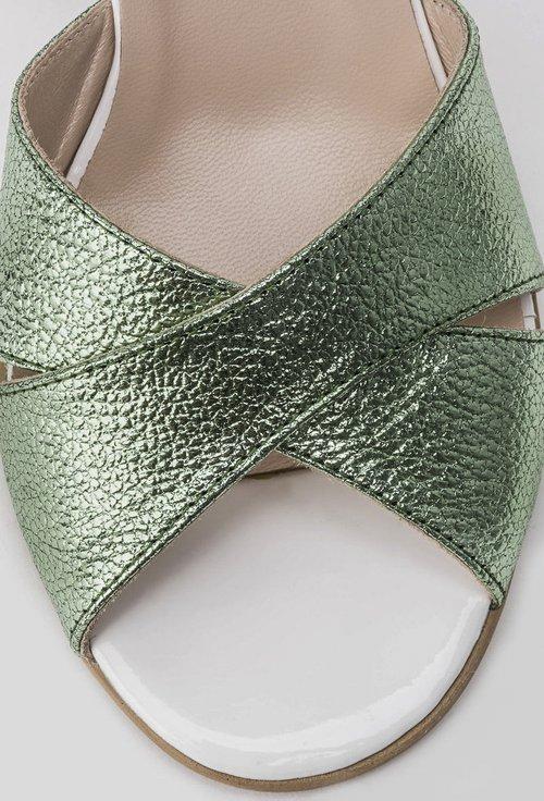Sandale alb-natur cu verde sidefat din piele naturala Meredith