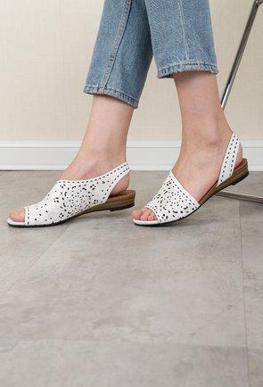 Sandale alb-natur din piele naturala Lady
