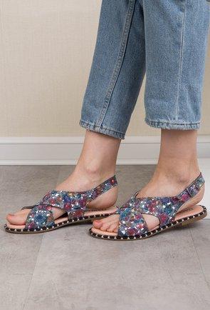 Sandale albastre cu imprimeu floral din piele naturala Yoyo