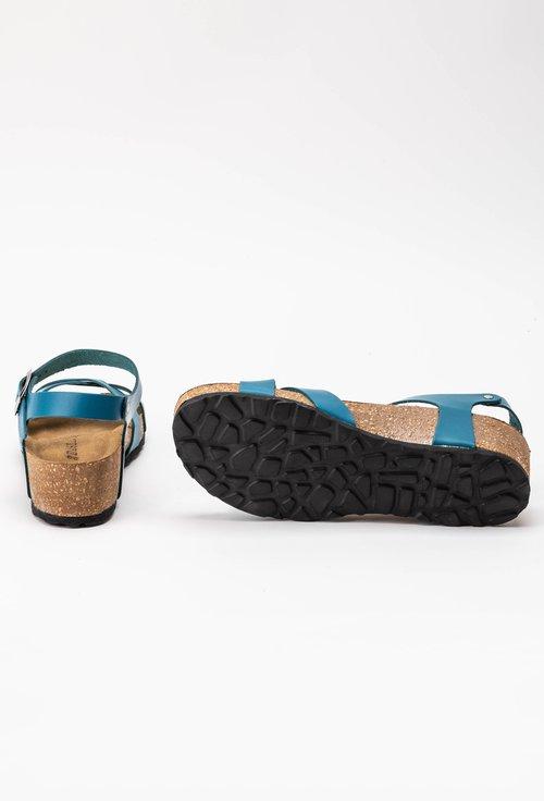 Sandale albastre din piele naturala Papaya