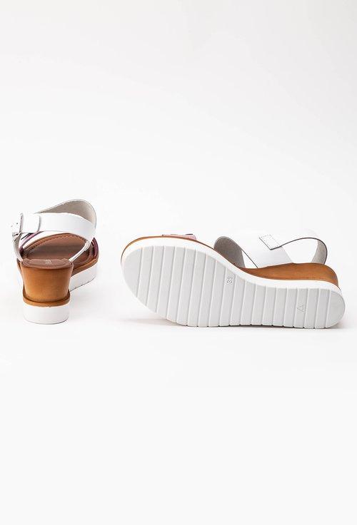 Sandale albe cu bareta mov din piele naturala cu platforma Flower