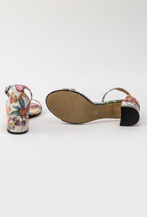 Sandale cu imprimeu floral multicolor din piele naturala Rebeka