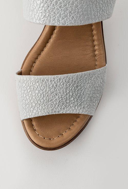 Sandale albe cu inseratii sclipitoare din piele naturala Lopez