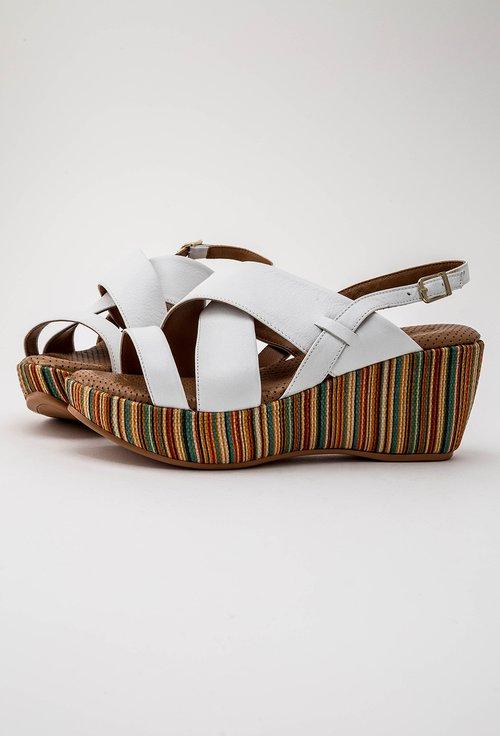 Sandale albe cu platforma colorata din piele naturala Zorna