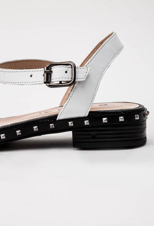 Sandale albe cu tinte din piele naturala Mila