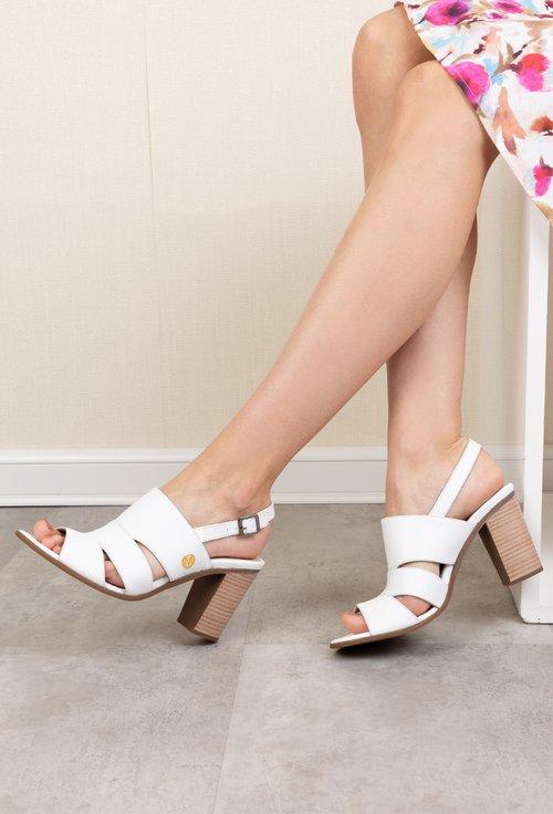 Sandale albe cu toc din piele naturala Irina