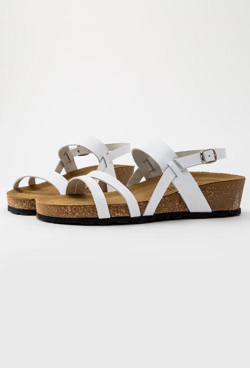 Sandale albe din piele naturala Arleen