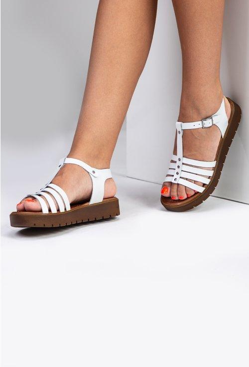 Sandale albe din piele naturala cu barete