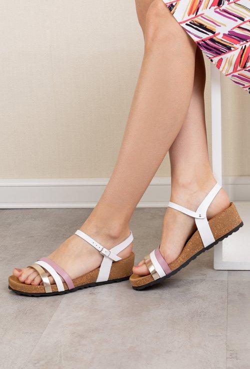 Sandale albe din piele naturala cu barete colorate Rita