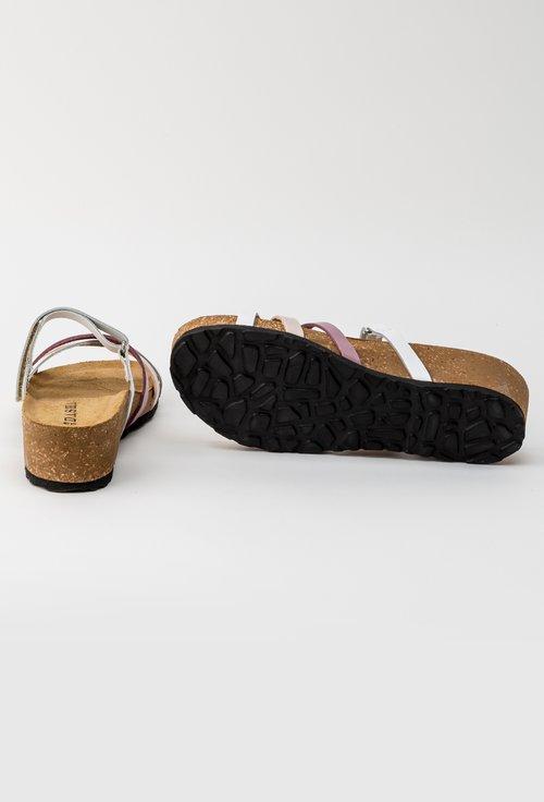 Sandale albe din piele naturala cu barete incrucisate Oro