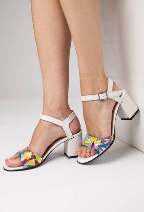 Sandale albe din piele naturala cu imprimeu colorat Colar