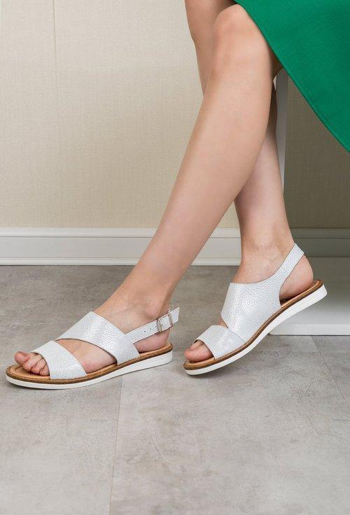 Sandale albe din piele naturala cu insertii sclipitoare Beatrice