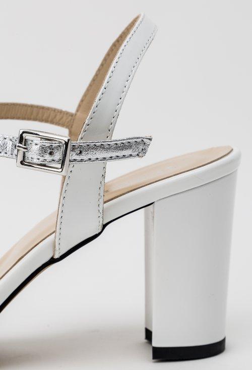 Sandale albe din piele naturala lacuita Ines