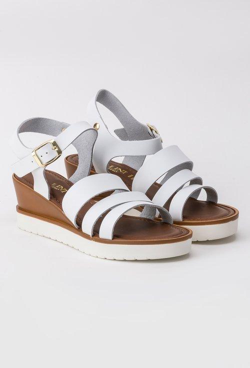 Sandale albe din piele naturala Lorys