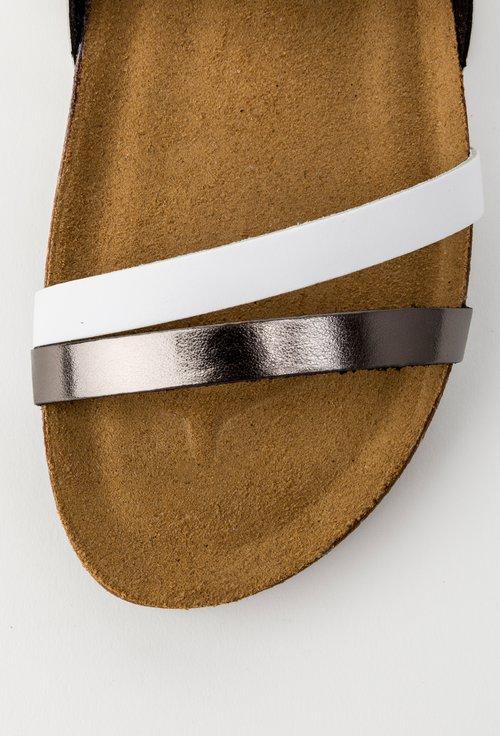 Sandale argintii cu barete din piele naturala Arleen