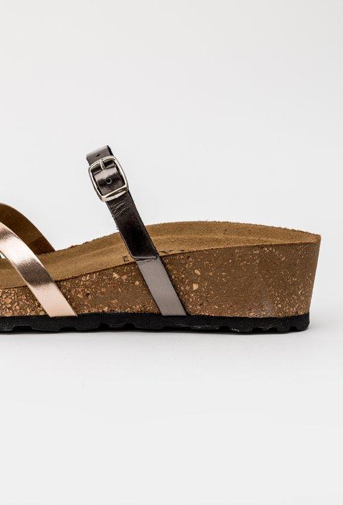 Sandale argintii din piele naturala cu barete incrucisate Rita