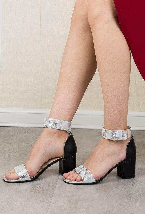 Sandale argintii din piele naturala Grey
