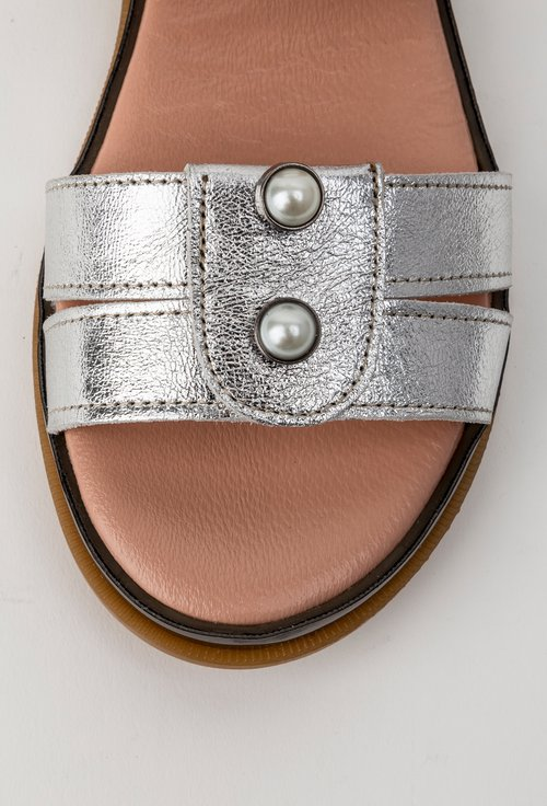 Sandale argintii din piele naturala Lucky