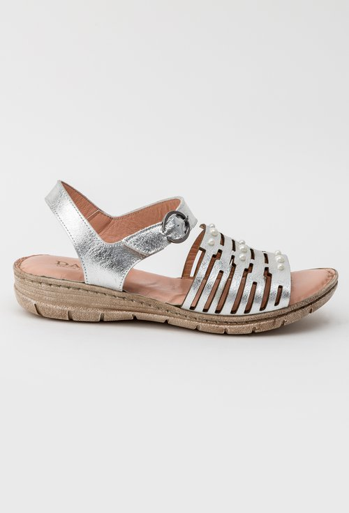 Sandale argintii din piele naturala Viki