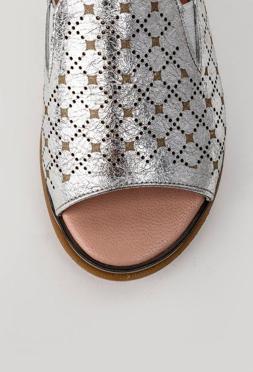 Sandale argintii perforate din piele naturala Kyle