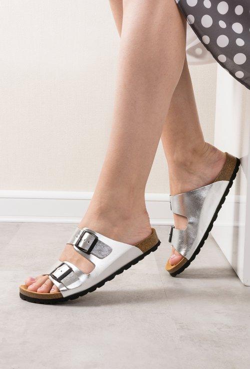 Sandale argintiu metalizat din piele naturala Noah