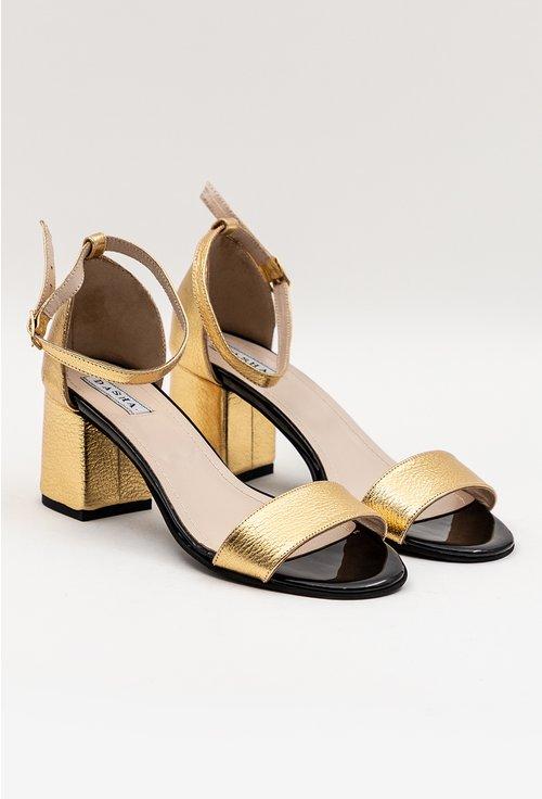 Sandale aurii din piele naturală