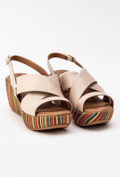 Sandale bej cu platforma colorata din piele naturala Zorna