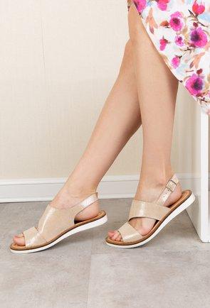 Sandale bej din piele naturala cu insertii sclipitoare Beatrice
