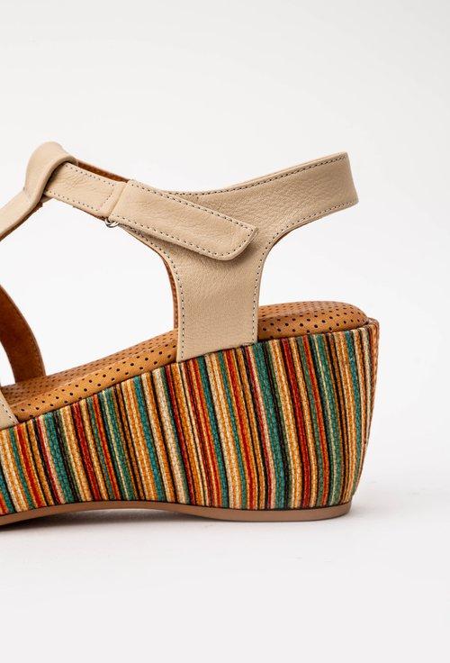 Sandale bej din piele naturala cu platforma Mozby